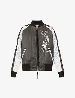 GREG LAUREN: Graphic-embroidered shawl-collar satin jacket