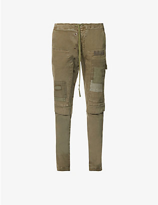 GREG LAUREN: Patchwork regular-fit slim stretch-cotton twill trousers