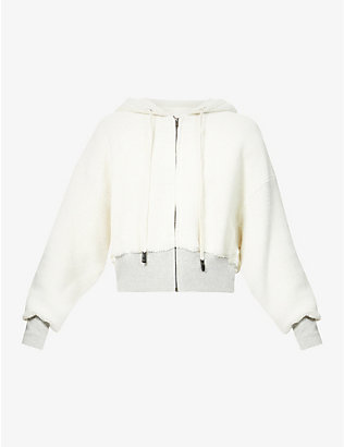 BASSIKE: Oversized cropped cotton-jersey hoody