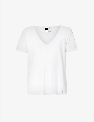 BASSIKE: V-neck organic cotton-jersey T-shirt