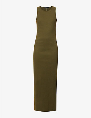 BASSIKE: Sleeveless stretch-cotton jersey maxi dress