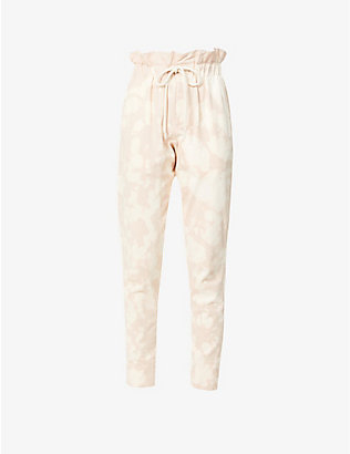 BASSIKE: Motley paperbag-waist high-rise organic cotton jogging bottoms