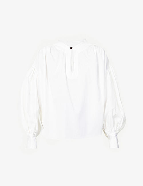BASSIKE: Oversized puffed-sleeve cotton-poplin shirt