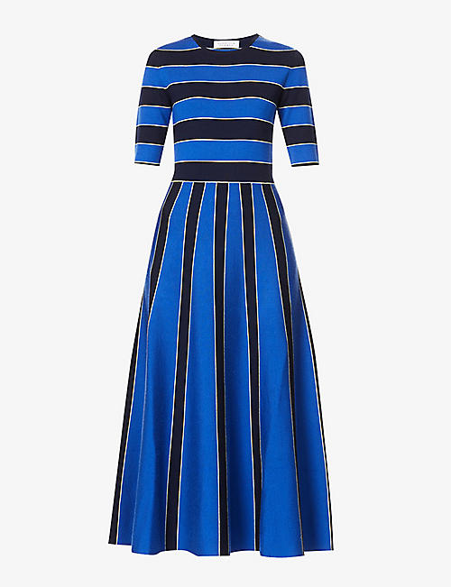 GABRIELA HEARST: Capote striped wool-blend midi dress