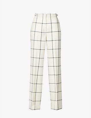 GABRIELA HEARST: Leda tartan wide-leg high-rise wool trousers