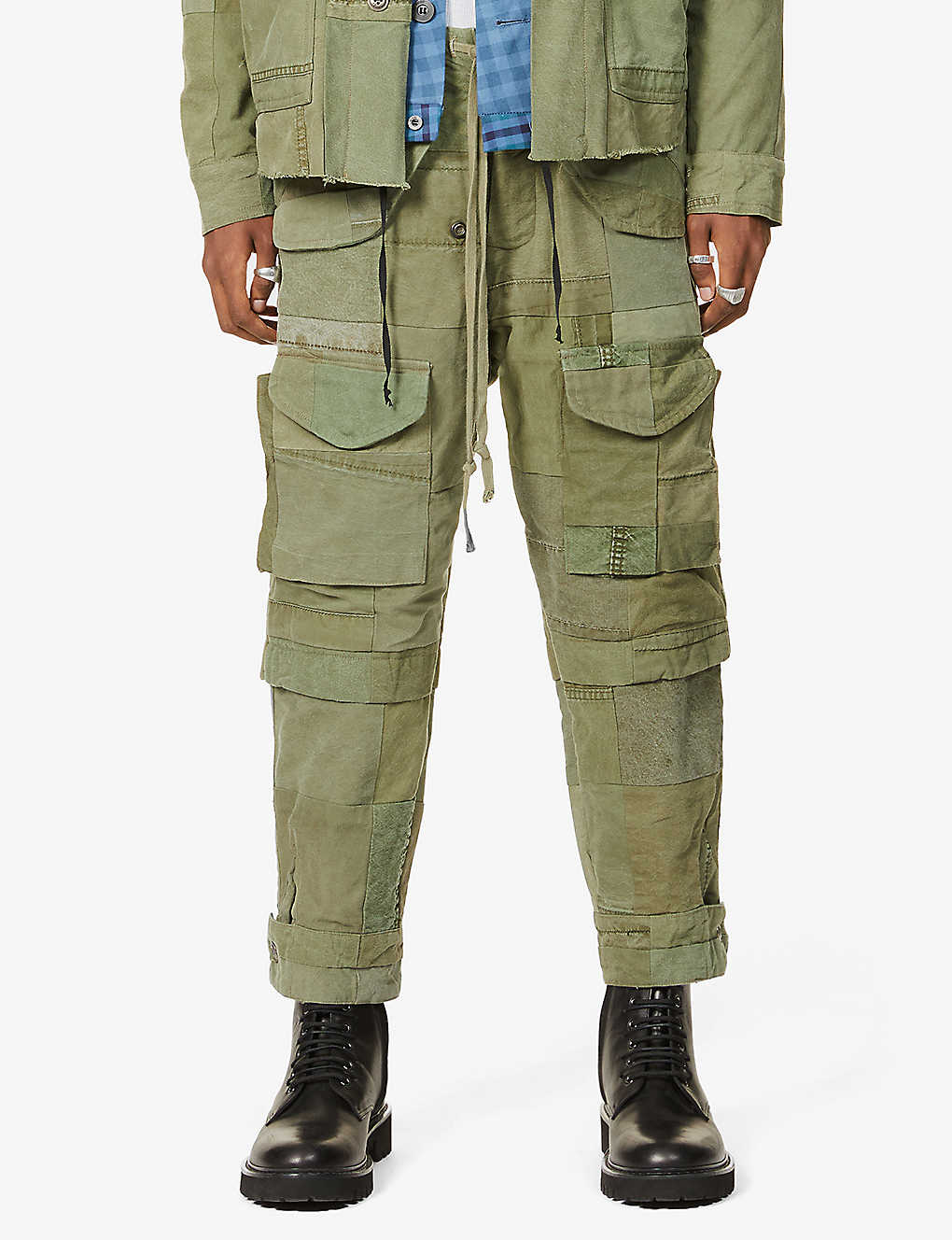 GREG LAUREN: SCRAPWORK Tent tapered cotton trousers