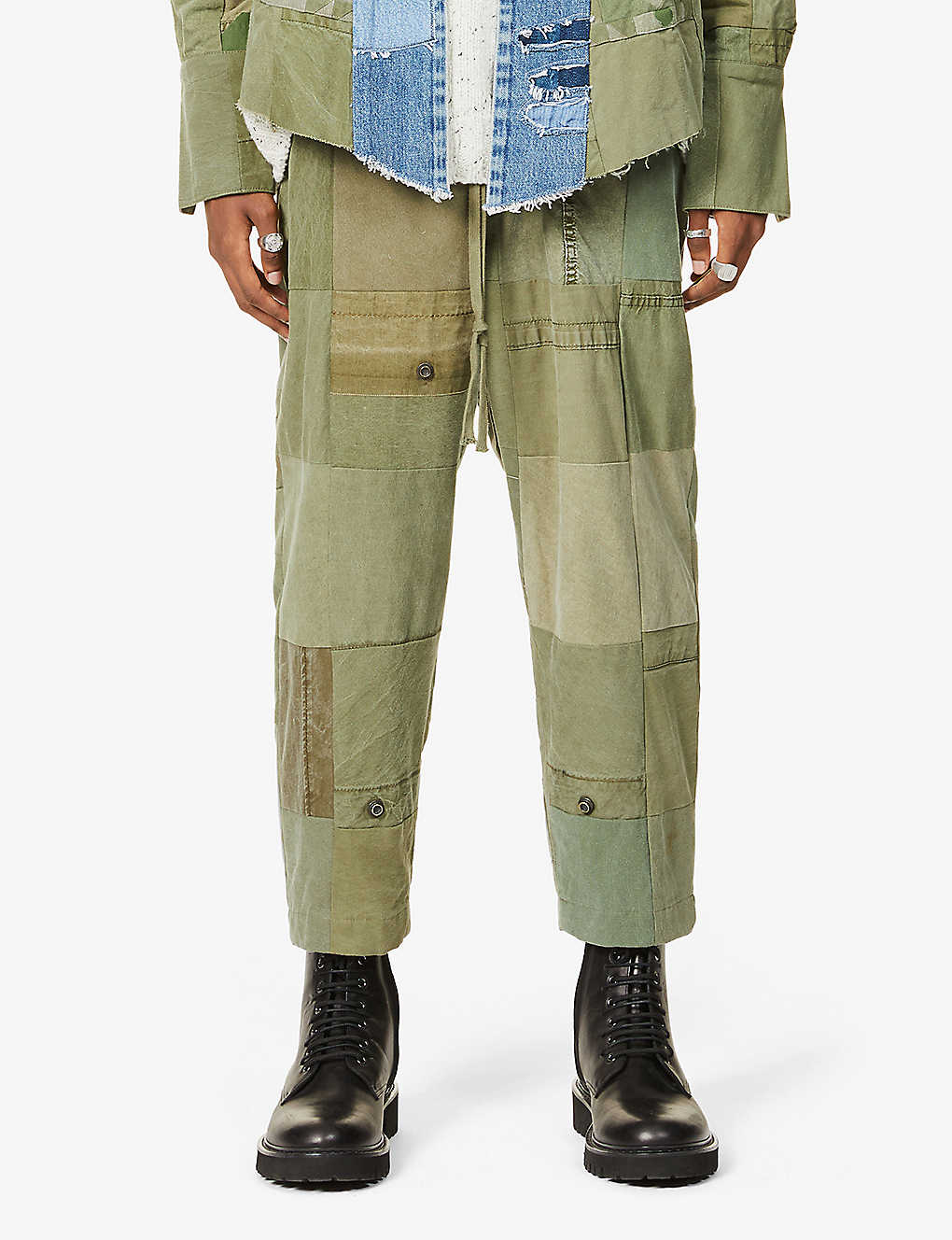 GREG LAUREN: SCRAPWORK Tent tapered cropped cotton trousers