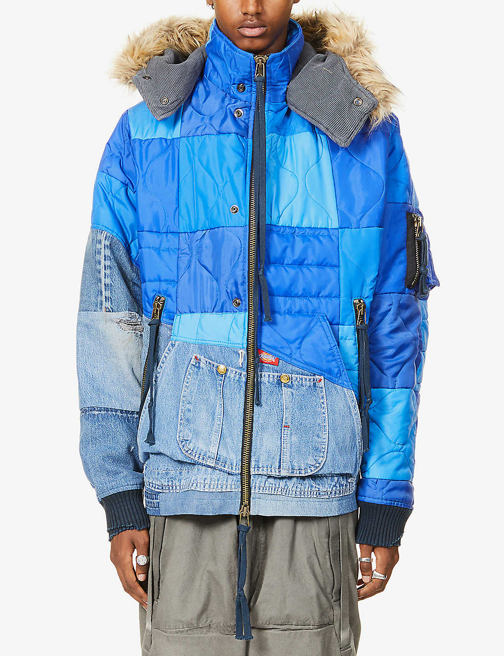 GREG LAUREN: SCRAPWORK hooded shell and denim jacket