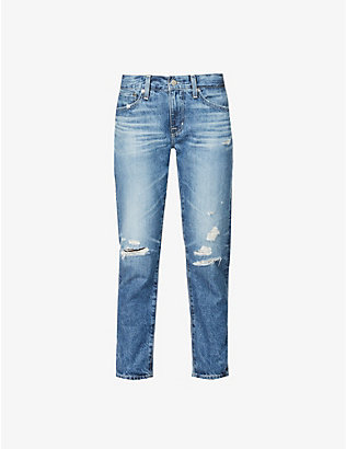 AG: Ex-Boyfriend distressed straight leg high-rise jeans