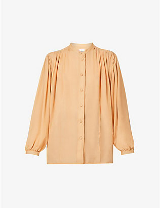 KHAITE: Denny silk pleated shirt