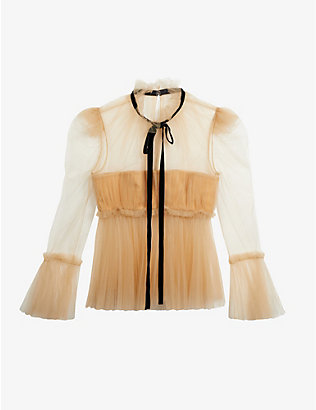 KHAITE: Dominika pleated semi-sheer tulle top