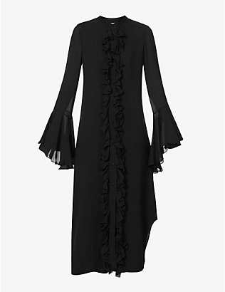 KHAITE: Callen ruffled silk-crepe midi dress