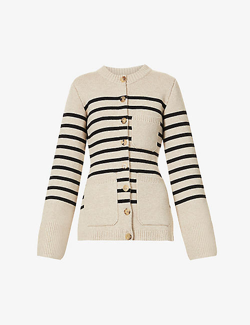 KHAITE: Suzette striped cashmere-blend cardigan