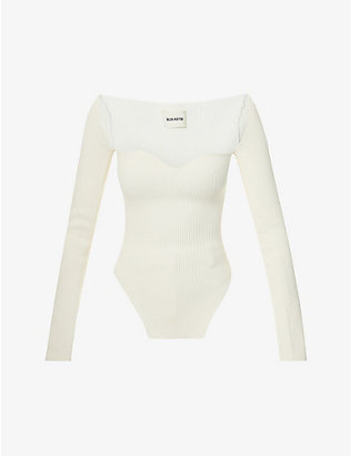 KHAITE: Maddy sweetheart-neckline knitted top