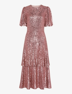 WHISTLES: Arabelle tiered sequinned midi dress