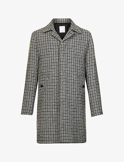 SANDRO: Houndstooth check wool coat