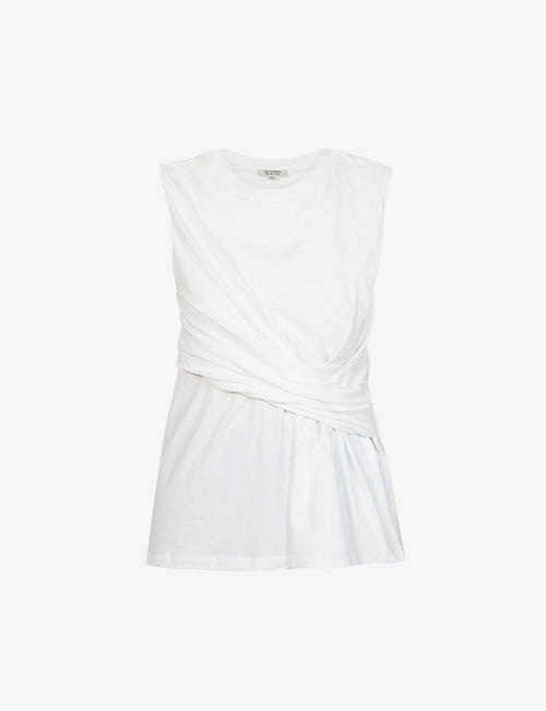 ALLSAINTS: Limera draped-panel cotton-jersey tank top
