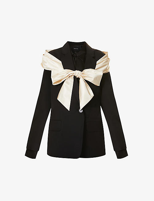 SIMONE ROCHA: Bow-embellished stretch-wool and silk blazer
