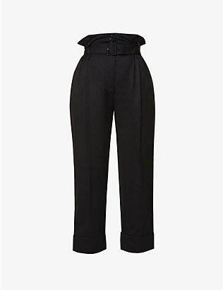 SIMONE ROCHA: Paperbag-waist high-rise stretch-wool trousers