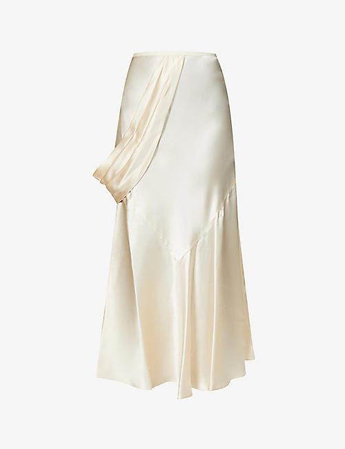 SIMONE ROCHA: Tiered high-waisted silk midi skirt