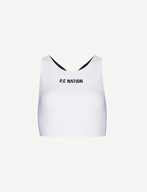 P.E NATION: Racing Line stretch-recycled nylon bra
