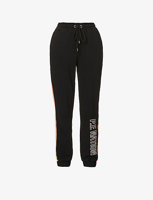 P.E NATION: Field Run organic cotton-jersey jogging bottoms
