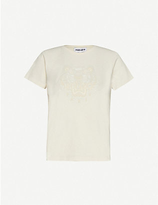 KENZO: Flocked logo cotton-jersey T-shirt