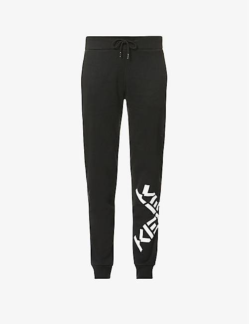 KENZO: Logo-print tapered mid-rise cotton-jersey jogging bottoms