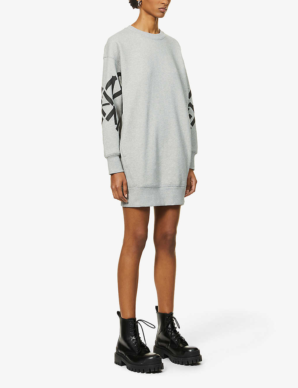 KENZO: Logo-print cotton-blend mini sweatshirt dress