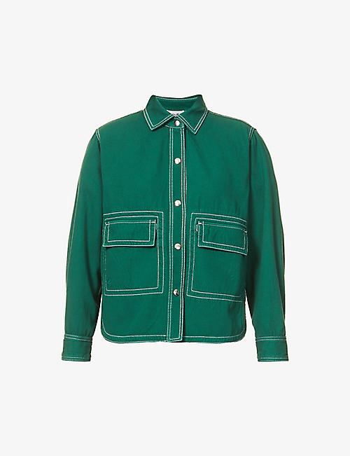 KENZO: Contrast-stitch cotton-twill shirt