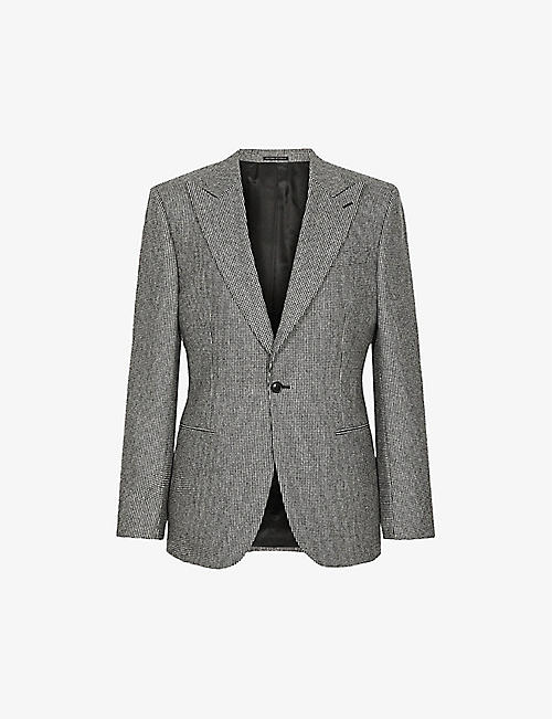 REISS: Denzil puppytooth check slim-fit wool blazer