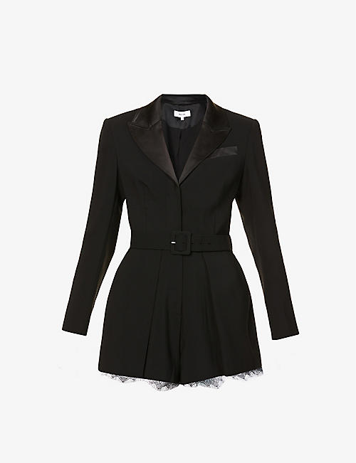 REISS: Lorelli lace-trim crepe playsuit
