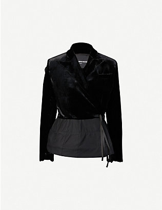 AGANOVICH: Flared-hem side-tie fitted woven jacket