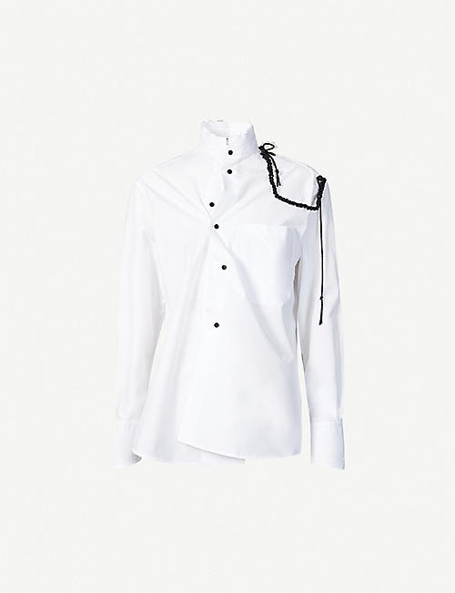 AGANOVICH: Mandarin-collar rope-embellished cotton-poplin shirt