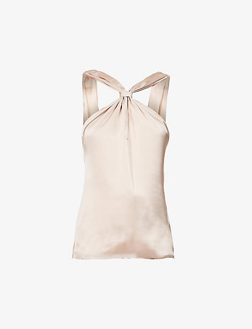 REISS: Neavah knotted-back satin top