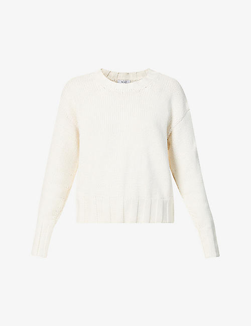 REISS: Cady cut-out back cotton and wool-blend jumper