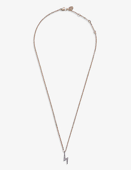 CLAUDIE PIERLOT: Flash diamanté-embellished gold-toned necklace