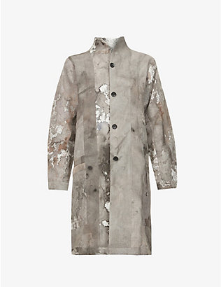 NOMAD GOBA: Abstract-print linen coat
