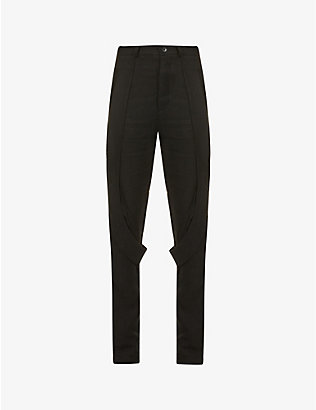 NOMAD GOBA: Tapered high-rise linen trousers
