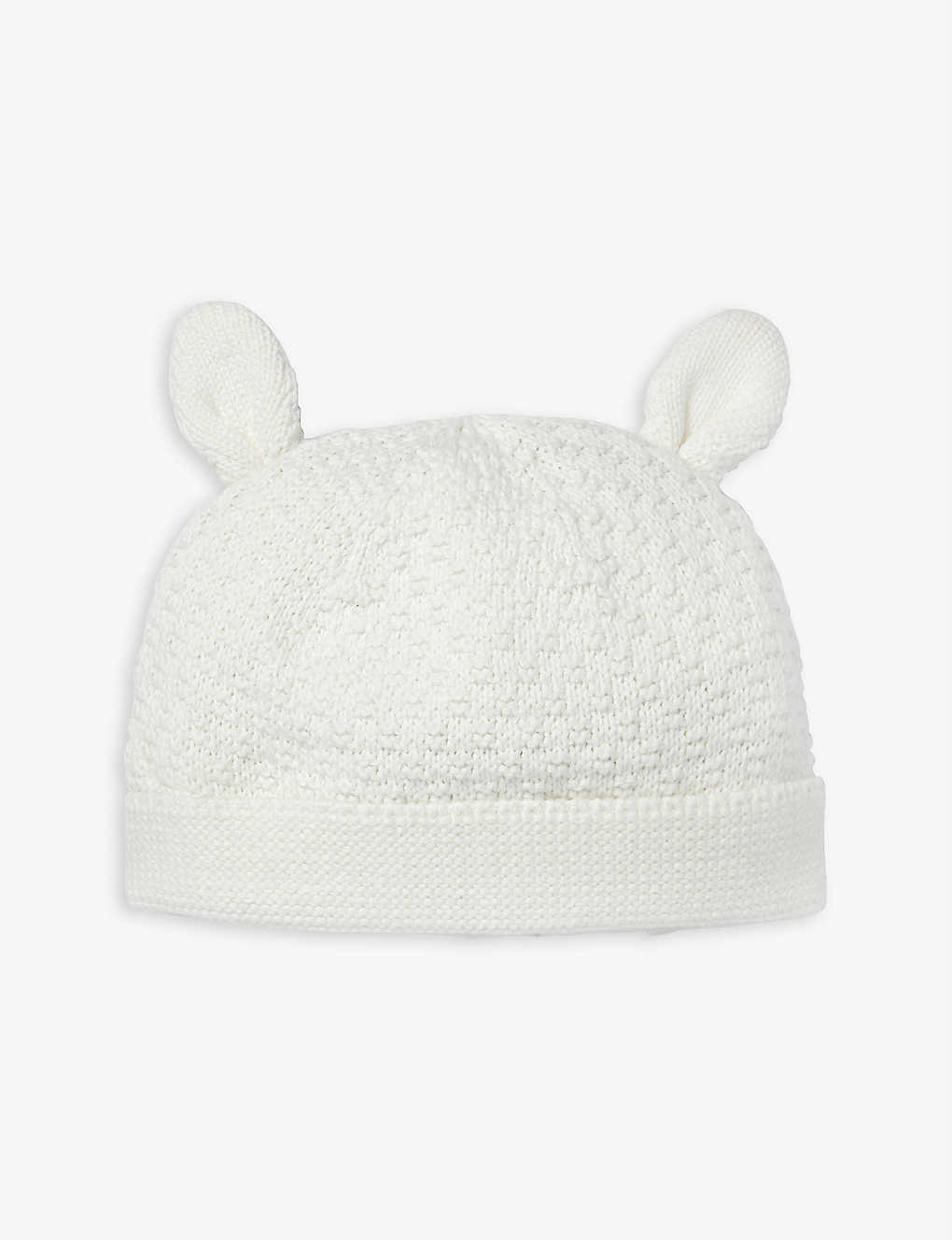 THE LITTLE WHITE COMPANY: Lamb knitted cotton hat 0-12 months