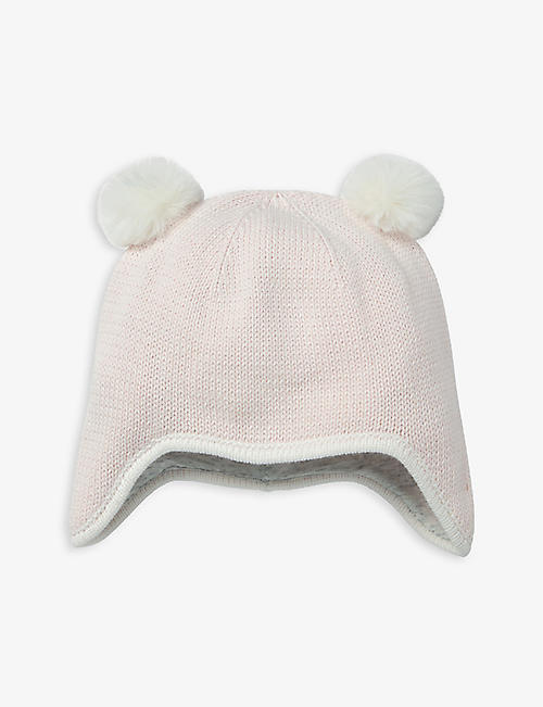 THE LITTLE WHITE COMPANY: Pom pom-embellished cotton hat 0-12 months