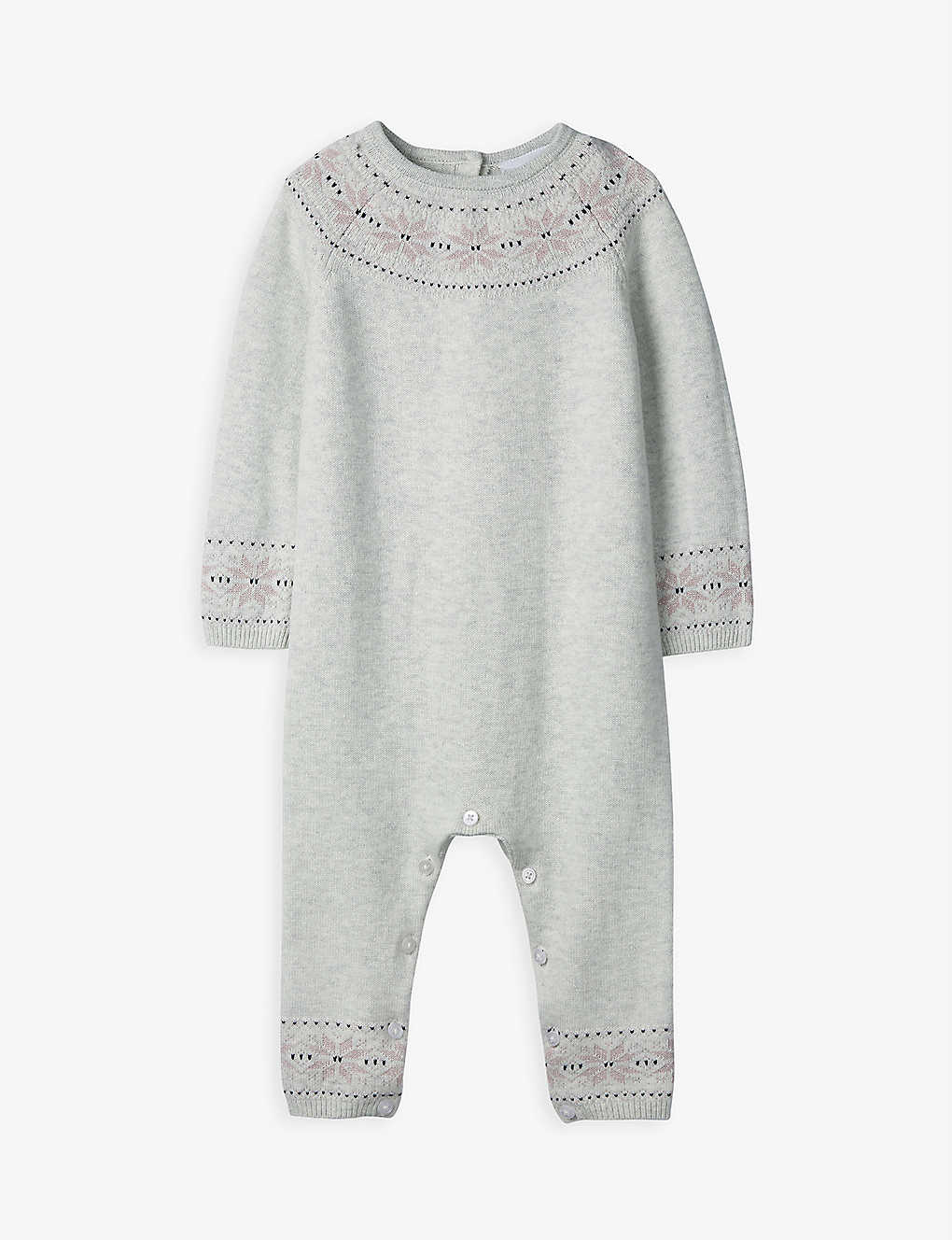 THE LITTLE WHITE COMPANY: Fair Isle knitted cotton-blend romper 0-12 months