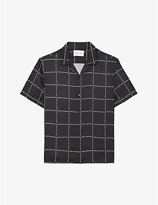 THE KOOPLES SPORT: Windowpane logo-print crepe shirt