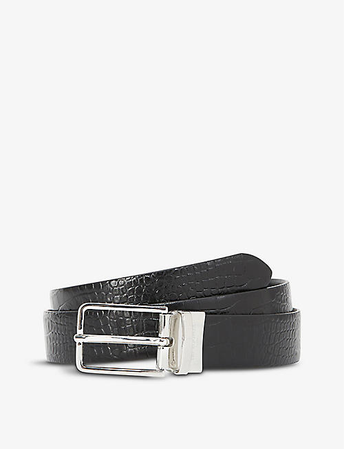 THE KOOPLES: Crocodile-embossed leather belt