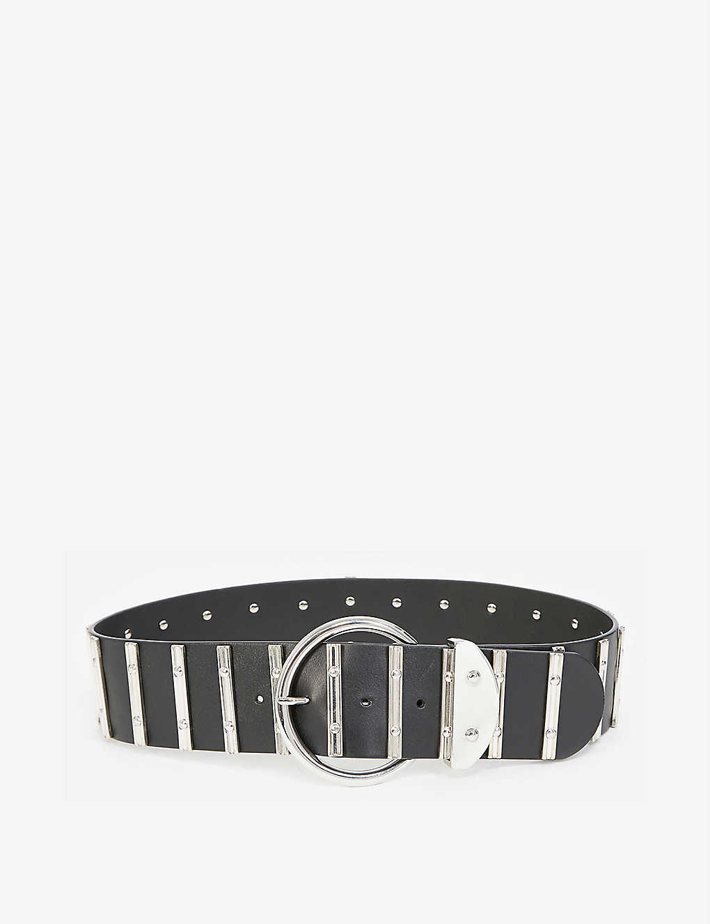 THE KOOPLES: Silver-tone and leather belt
