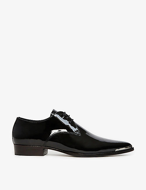 THE KOOPLES: Embellished-toe patent leather derby shoes