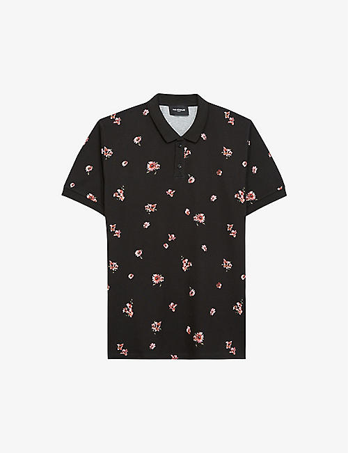 THE KOOPLES: Flower-print cotton polo shirt