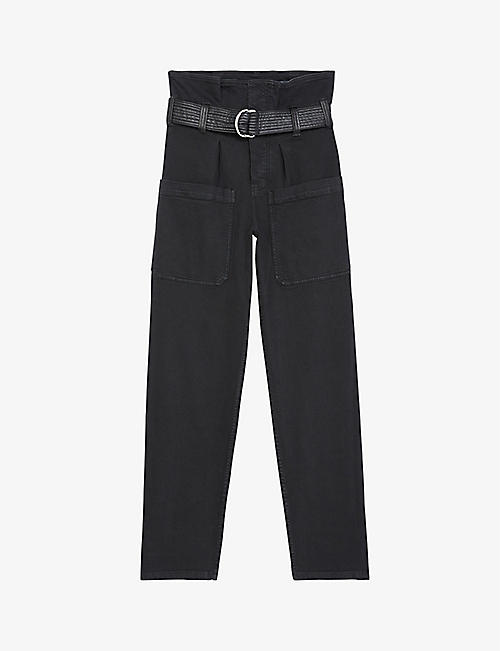 THE KOOPLES: High-waist cargo-pocket jeans with leather belt