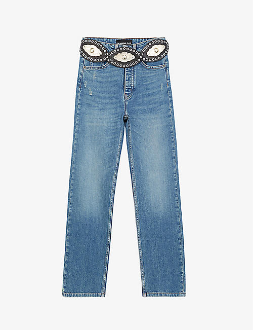 THE KOOPLES: Western-belt straight-leg denim jeans