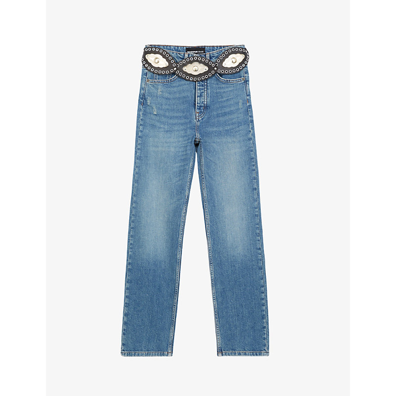 The Kooples Denims WESTERN-BELT STRAIGHT-LEG DENIM JEANS
